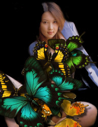 The beautiful chinese actress Akira Watase is standing in the dark with opened legs. Bad butterflies came and attack her, covering her gorgeous body ..